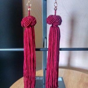 Jewelry - Burgandy Red Tasselled Earrings